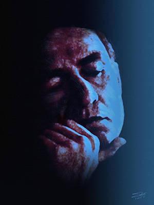 Johnny Cash Digital Art - Johnny Cash Portrait In Blue by IM Spadecaller