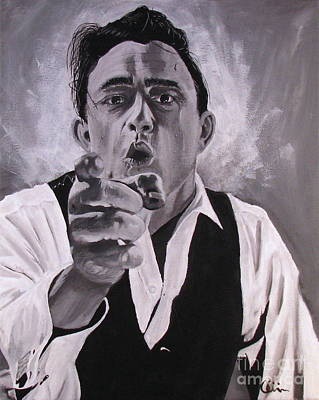 Black Gospel Painting - Johnny Cash Portrait by M Oliveira