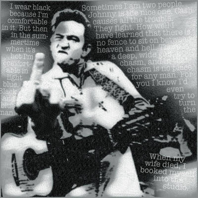 Black Gospel Painting - Johnny Cash Rebel by Tony Rubino