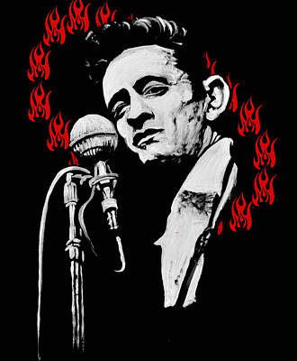 Johnny Cash Mixed Media - Johnny Cash Ring Of Fire by Melissa O'Brien