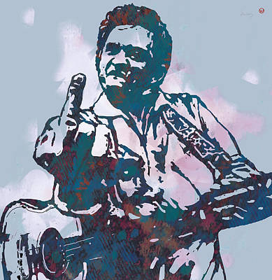 Johnny Cash - Stylised Etching Pop Art Poster Art Print by Kim Wang