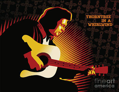 Gospel Music Digital Art - Johnny Cash Thorntree In A Whirlwind by Sassan Filsoof