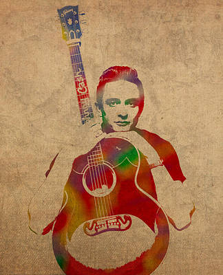 Johnny Cash Watercolor Portrait On Worn Distressed Canvas Art Print