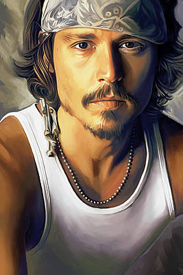 Celebrity Portraits Painting - Johnny Depp Artwork by Sheraz A