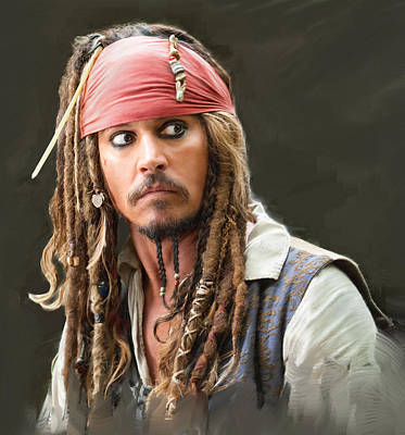 Pirates Of The Caribbean Painting - Johnny Depp As Captain Jacques Sparrow by Dominique Amendola