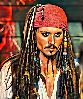 Painting - Johnny Depp As Jack Sparrow by Florian Rodarte
