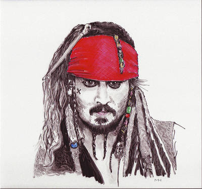 Johnny Depp As Jack Sparrow Art Print by Martin Howard