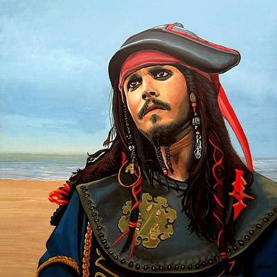 People On Beach Wall Art - Painting - Johnny Depp As Jack Sparrow by Paul Meijering