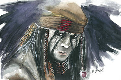 Lone Ranger Painting - Johnny Depp As Tonto by Kyle Gray