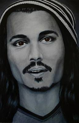 Painting - Johnny Depp by David Hawkes