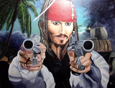 Musket Mixed Media - Johnny Depp  Jack Sparrow by Kathleen Parr