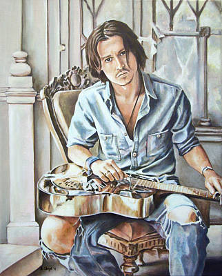 Johnny Depp Painting - Johnny Depp On Guitar by Andy Lloyd