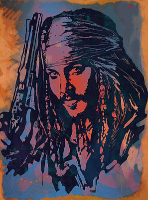 Johnny Depp Drawing - Johnny Depp - Stylised Etching Pop Art Poster by Kim Wang