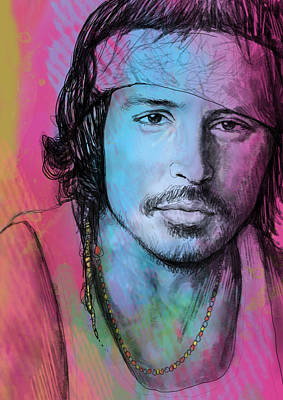 Johnny Depp - Stylised Pop Art Drawing Sketch Poster Art Print