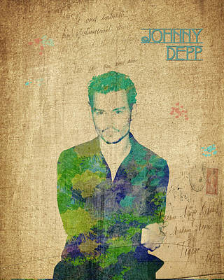 Digital Art - Johnny Depp Watercolor by Paulette B Wright
