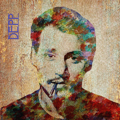 Digital Art - Johnny Depp Watercolor Splashes by Paulette B Wright