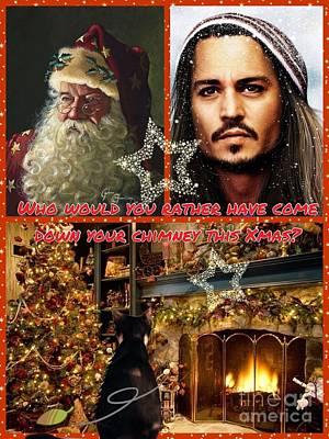 Johnny Depp Xmas Greeting Art Print