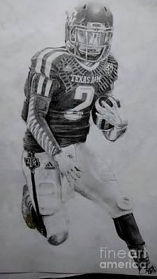 Texas Drawing - Johnny Football by Ezra Strayer