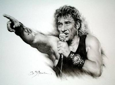 Sepia Chalk Mixed Media - Johnny Halliday by Guillaume Bruno