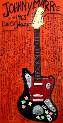 Guitar Painting - Johnny Marr Fender Jaguar by Karl Haglund