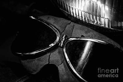 Photograph - Johnnys Old Motorcycle Goggles Black And White by Wilma  Birdwell