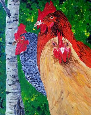 John's Chickens Art Print