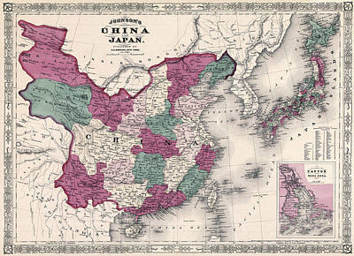 Map Of Japan Photograph - Johnson Map Of China And Japan 1869 by Daniel Hagerman