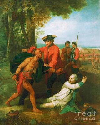 Mohawk Painting - Johnson Saving French Officer by Pg Reproductions