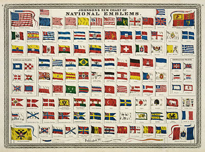 French Map Digital Art - Johnsons New Chart Of National Emblems by Georgia Fowler