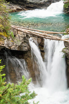 Photograph - Johnston Canyon Double Waterfall by Douglas Barnett