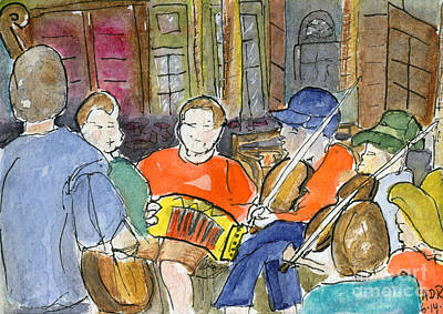 Cajun Music Jam Art Print by Andrea Rubinstein