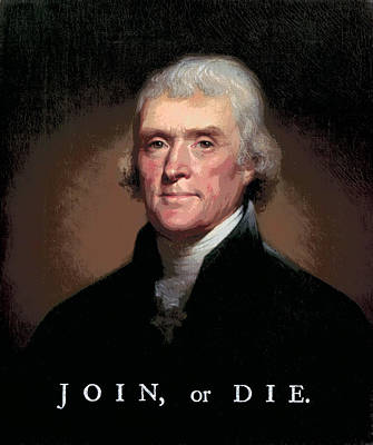 Join Or Die Jefferson Art Print by Daniel Hagerman