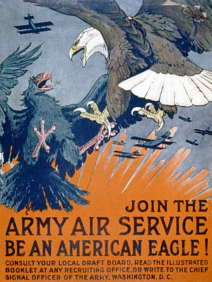 Birds Of Prey Drawing - Join The Army Air Service, Be An by Charles Livingston Bull