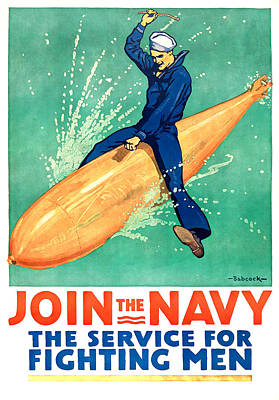 Navy Drawing - Join The Navy by Gary Bodnar