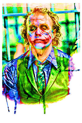 Heath Ledger Digital Art - Joker Watercolor by Ethan Deloache