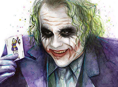 Heath Ledger Wall Art - Painting - Joker Watercolor Portrait by Olga Shvartsur