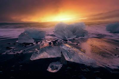Ice Crystal Photograph - Jokulsarlona?s Sunrise II by Iv?n Ferrero