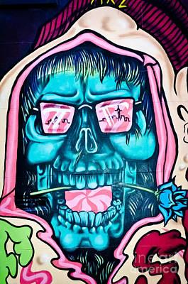 Grunge Skull Painting - Jolly Hallucinogenic Skull Graffiti by Yurix Sardinelly