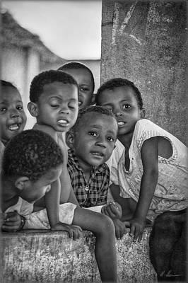Photograph - Jolly Kids B/w by Hanny Heim