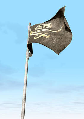 Cloth Digital Art - Jolly Roger Pirate Flag Far by Allan Swart