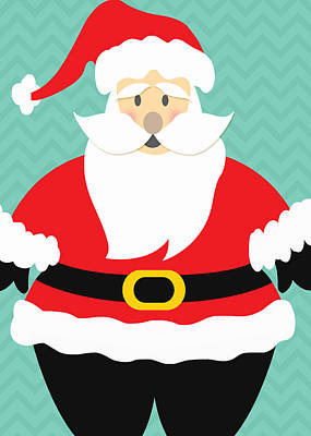 Royalty-Free and Rights-Managed Images - Jolly Santa Claus by Linda Woods