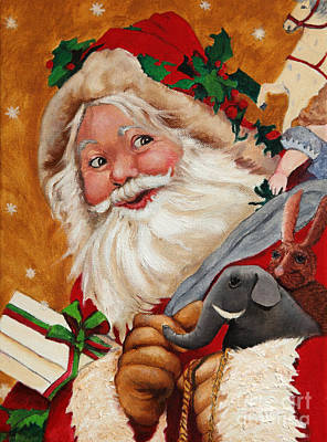 Antique Maps - Jolly Santa by Portraits By NC