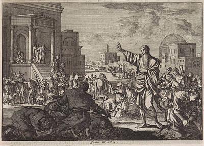 Jonah Drawing - Jonah Predicts The Downfall Of Nineveh, Jan Luyken by Jan Luyken And Pieter Mortier