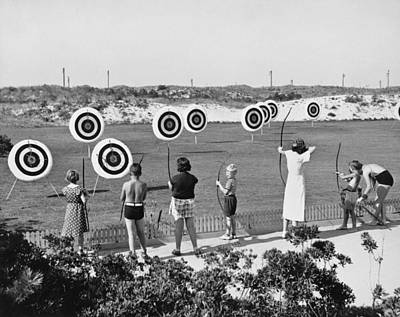 Medium Group Of People Photograph - Jones Beach Archery Range by Underwood Archives