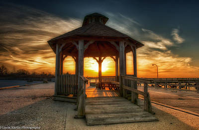Art Print featuring the photograph Jones Beach Sunset On Long Island New York by Linda Karlin