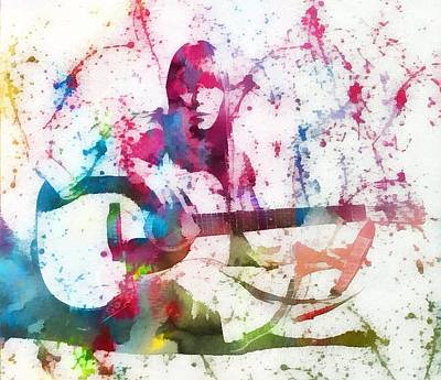 Joni Mitchell Paint Splatter Original by Dan Sproul