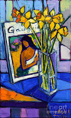 Interior Still Life Painting - Jonquils And Gauguin by Mona Edulesco