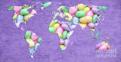 Digital Art - Jordan Almond World Painting by Andee Design