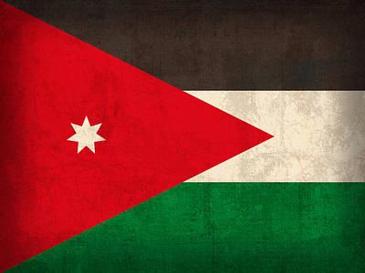 Flag Mixed Media - Jordan Flag Vintage Distressed Finish by Design Turnpike