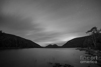 Jordan Pond Blue Hour Bw Art Print